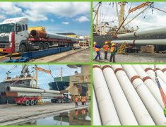 YET ANOTHER SHIPMENT OF STEEL PIPES DESTINED FOR THE NEW DEPOT OF THE SINGAPORE MRT CIRCLE LINE.