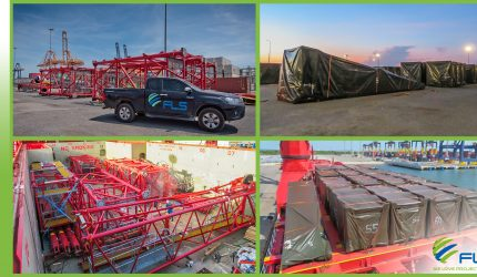 FLS PROJECTS SHIPPED A LARGE LUFFING JIB TOWER CRANE FROM THAILAND TO CANADA.